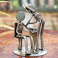 Auto part sculpture, 'Beloved Nurse' - Unique Recycled Metal Nurse and Patient Sculpture
