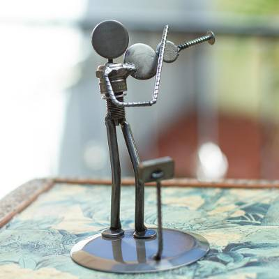 Auto part sculpture, Rustic Violinist