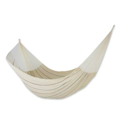 Handmade Beige Cotton Mayan Hammock with Stripes from Mexico