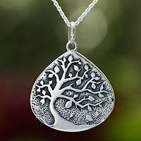 Sterling silver pendant necklace, 'Cacao Tree' - Unique Sterling Silver Tree Pendant Necklace from Mexico