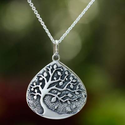 Sterling silver pendant necklace, 'Cacao Tree' - Unique Sterling Silver Pendant Necklace