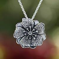 Sterling silver flower necklace, 'Mexican Azalea' - Artisan Crafted Floral Sterling Silver Necklace from Mexico