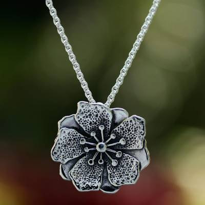 Artisan Crafted Floral Sterling Silver Necklace from Mexico, 'Mexican Azalea'