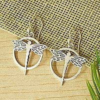 Sterling silver dangle earrings, 'Tropical Dragonfly' - Handmade Sterling Silver Dangle Earrings