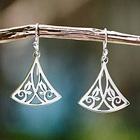 Sterling silver dangle earrings, 'Cuernavaca Lotus' - Artisan Crafted Women's Floral Sterling Silver Earrings