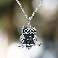Sterling silver pendant necklace, 'Thoughtful Owl'