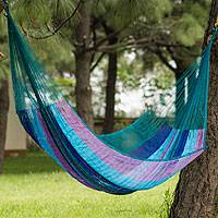 Hammock, 'Maya Skies' (double) - Hand Woven Patterned Mayan Hammock