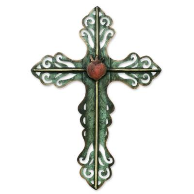 Steel wall art, 'Cross and the Sacred Heart' - Hand Made Cross Green Religious Steel Wall Sculpture Mexico