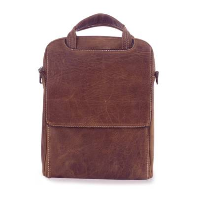 Leather tablet case, 'Brown Cyberspace' - Unique Leather Tablet Case