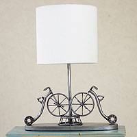 Recycled metal table lamp, 'Rustic Vintage Bicycles' - Recycled metal table lamp