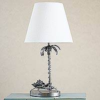 Auto parts table lamp, 'Cancun Beach Frog' - Repurposed Auto Parts Table Lamp with Palm Tree and Frog