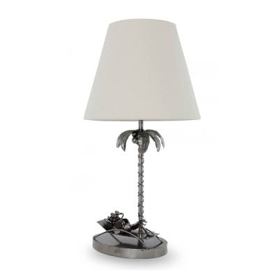 Upcycled auto part table lamp, 'Cancun Beach Frog' - Repurposed Auto Parts Table Lamp with Palm Tree and Frog