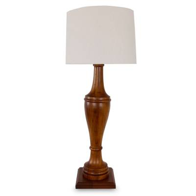 Parota wood table lamp, 'Light of Nostalgia' - Parota wood table lamp