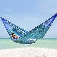 Cotton blend hammock, 'Cool Maya' (double) - Hand Crafted Cotton Blend Mayan Hammock (Double)