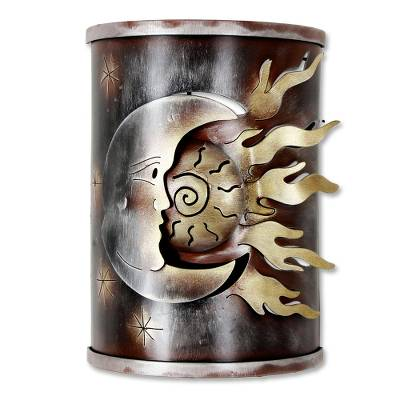 Iron wall lamp, 'Eclipse of the Sun' - Sun and Moon Handcrafted Steel Cutout Metallic Wall Sconce
