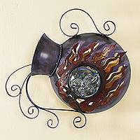 Iron wall lamp, 'Jar of Sunbeams' - Jar-Shape Iron Wall Lamp Sconce Hand Crafted in Mexico