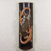 Iron wall lamp, 'Gecko Encounter' - Artisan Crafted Steel Lizard Wall Sconce