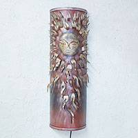 Iron wall lamp, 'Majestic Mexican Sun' - Iron wall lamp