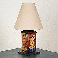 Decoupage lamp, 'Frida with Love' - Frida Kahlo Handcrafted Decoupage Wood Table Lamp and Shade