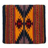 Wool cushion cover, 'Zapotec Butterfly' - Hand Crafted Geometric Wool Patterned Cushion Cover