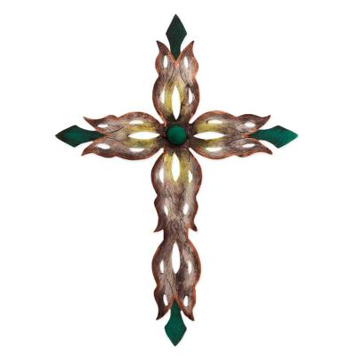 Handcrafted Religious Steel Christian Cross Wall Sculpture