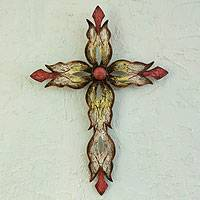 Steel wall art, 'Mission Cross Red' - Steel Cross Hand Crafted Wall Art from Mexico