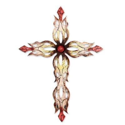 Steel Cross Hand Crafted Wall Art from Mexico