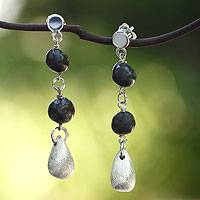 Sterling silver and ceramic dangle earrings, 'Oaxaca Night' - Sterling silver and ceramic dangle earrings