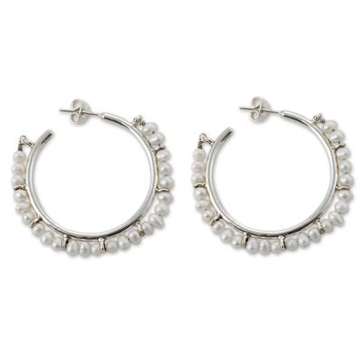 Cultured pearl half hoop earrings