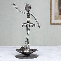 Recycled auto parts sculpture, 'Dainty Ballerina' - Recyled Metal Sculpture Rustic Art Handmade 14 in