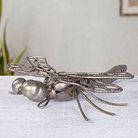 Recycled metal sculpture, 'Rustic Dragonfly' - Recycled metal sculpture