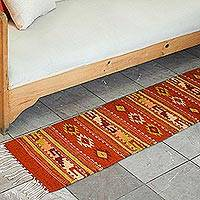 Zapotec wool runner, 'Sierra Sunset' (1.5x6.5) - Handcrafted Mexican Zapotec Runner (1.5x6.5)