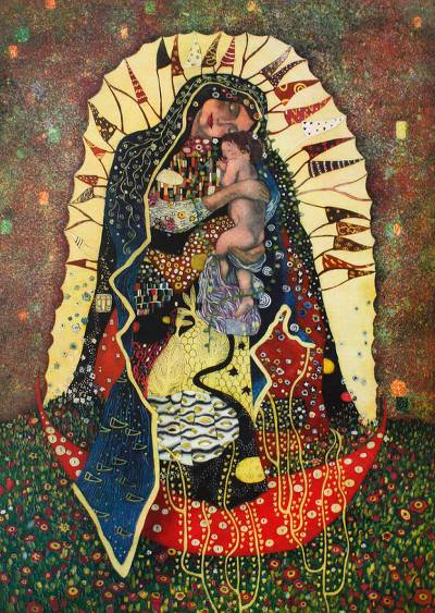 'Virgin Mary, Klimt-Style' - Artisan Crafted Religious Modern Multicolor Painting