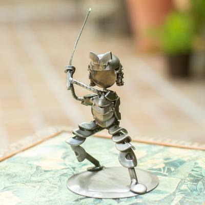 Recycled metal statuette, 'Rustic Samurai II' - Unique Handcrafted Recycled Metal Warrior Sculpture
