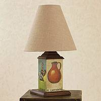 Decoupage table lamp, 'Mexican Loteria I' - Decoupage Table Lamp with Loteria Theme
