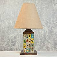 Decoupage table lamp, Mexican Loteria II