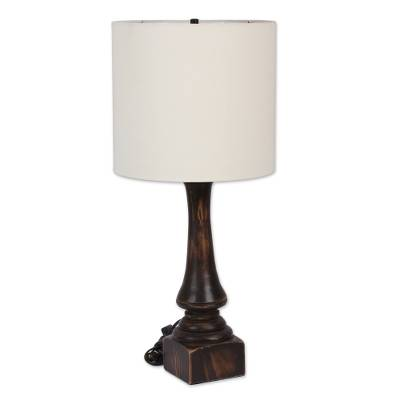 Pinewood table lamp, 'Rancho Rustic' - Pinewood Table Lamp Handcrafted in Mexico