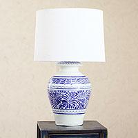 Majolica ceramic table lamp Song of Talavera Mexico