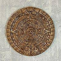Ceramic plaque, 'Aztec Sun Stone in Dark Terracotta' - Ceramic plaque from Mexico