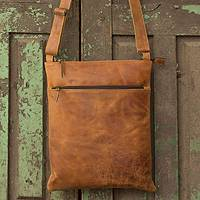 Leather shoulder bag, 'Caramel Paths'
