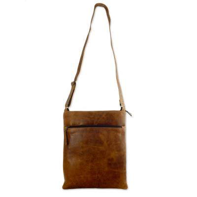 Leather shoulder bag, 'Caramel Paths' - Quality Leather Shoulder Bag Fully Lined 4 Pockets Total