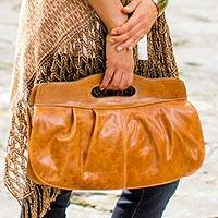 Leather baguette handbag, 'Honeyed Empress' - Brown Leather Baguette Bag