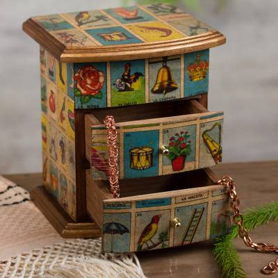 Decoupage jewelry box, 'Mexican Loteria' - Mexican Bingo Decoupage on Wood Jewelry Box