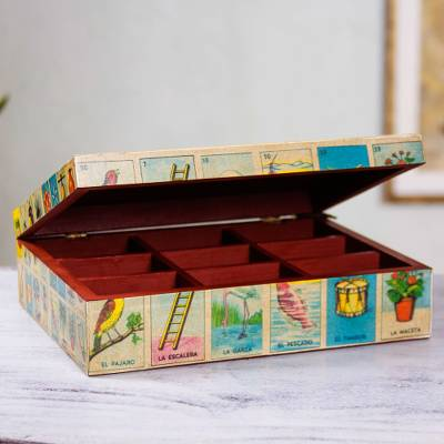 Decoupage decorative box, 'Mexican Loteria' - Mexican Bingo Decoupage on Wood Decorative Box