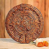 Ceramic plaque, 'Brown Aztec Calendar' - Ceramic plaque