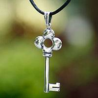 Sterling silver pendant necklace, 'Key to Happiness' - Sterling silver pendant necklace