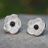 Sterling silver and ceramic button earrings, 'Oaxaca Flower' - Sterling silver and ceramic button earrings