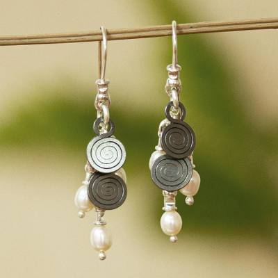 Cultured pearl waterfall earrings, 'Popocateptl Shower' - Cultured pearl waterfall earrings