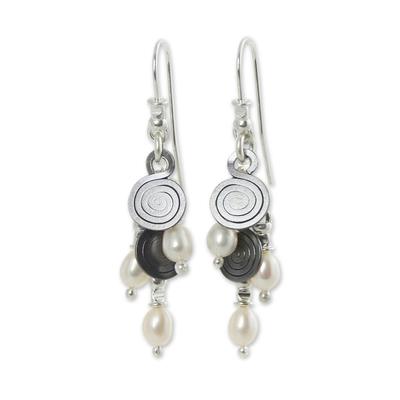 Cultured pearl waterfall earrings
