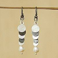 Cultured pearl dangle earrings, 'Waterfall' - Handcrafted Taxco Silver and Cultured Pearl Earrings